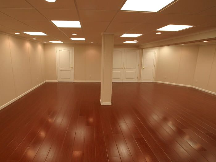 Wood laminate basement floor finishing in staten island edison union city - Faux parquet autocollant ...